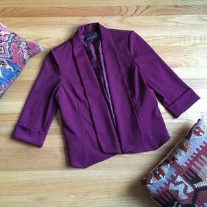 Kasper plum purple open front blazer